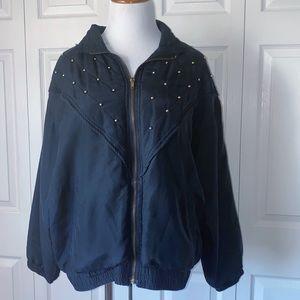 Vintage 80s Black Silk Gold Studded Bomber Jacket